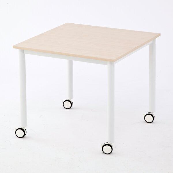 R・Fヤマカワ キャスターテーブルホワイト脚 正方形 角型 W800×D800×H700mmナチュラル RFCTT-WL8080NA【代引不可】