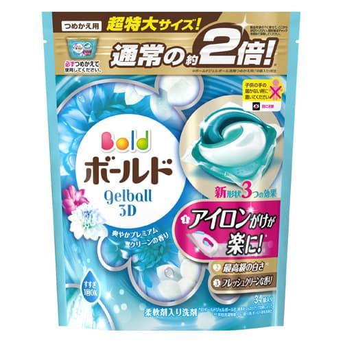P&G ボールド ジェルボール3D 爽やかプレミアムクリーンの香り 詰替 超特大サイズ
