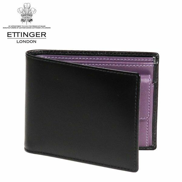 ETTINGER エッティンガー STERLING ロイヤルコレクション 二つ折り財布 小銭入れ付 ブラック/パープル ST141JR