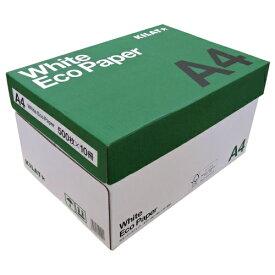 コピー用紙 ホワイトエコペーパー A4サイズ 1箱 5000枚 (500枚×10冊)高白色 OA用紙 印刷用紙 用紙『送料無料(一部地域除く)』