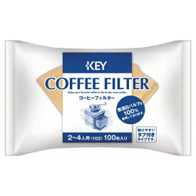 キーコーヒー コーヒーフィルター 2〜4人用 無漂白 100P