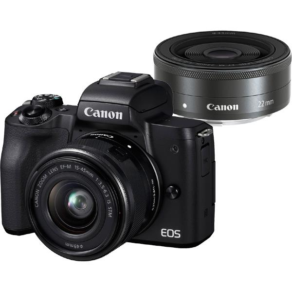 【 在庫処分!】【 国内正規ルート品 】【送料無料】CANON(キヤノン)EOS Kiss M ダブルレンズキット ブラック2410万画素 デジタル一眼カメラ