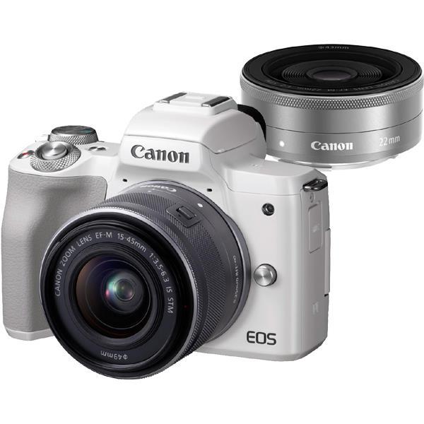 【 在庫処分!】【 国内正規ルート品 】【送料無料】CANON(キヤノン)EOS Kiss M ダブルレンズキット ホワイト2410万画素 デジタル一眼カメラ