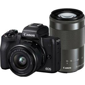 【あす楽対応_関東】【 国内正規ルート品 】【送料無料】CANON(キヤノン)EOS Kiss M ダブルズームキット ブラック2410万画素 デジタル一眼カメラ