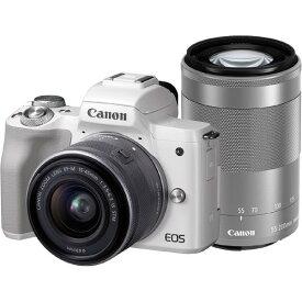 【あす楽対応_関東】【 国内正規ルート品 】【送料無料】CANON(キヤノン)EOS Kiss M ダブルズームキット ホワイト2410万画素 デジタル一眼カメラ