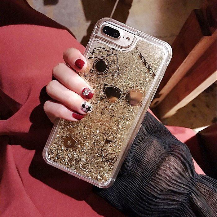 【メール便送料無料】iPhone6s iPhone6splus キラキラ流れ星☆グリッターiPhone7 iphone7plus ソフト ケース ストーン カメラ メガネ リボン 車 えんぴつ iPhone 6 6s 6plus 6splus アイス アイスクリーム ゴールド