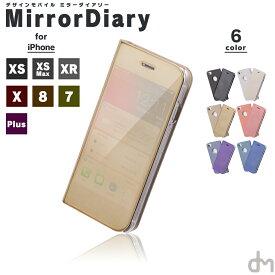 iPhone XR XS X ケース 8 7 メール便送料無料 手帳型 手帳 アイフォン iPhoneXR iPhoneXS iPhoneX 8 7 6s 6 iPhone8 iPhone7 Plus ケース カバー プラス おしゃれ シンプル マジック ミラー 鏡 便利 薄 ケースにつけたまま dm「 ミラーダイアリー 」