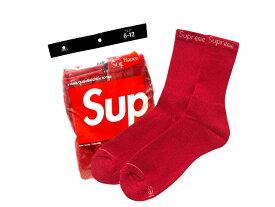 SUPREME シュプリーム ヘインズ 19AW 新品 赤 靴下 ジャガードロゴ ハイソックス Hanes Crew Socks 4足パック RED