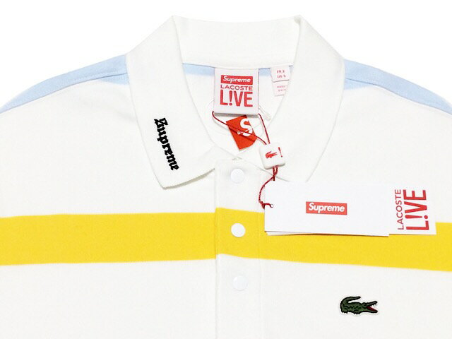 SUPREME シュプリーム LACOST ラコステ コラボ 17SS 新品 白 ロングスリーブ ジャージー ポロシャツ Long Sleeve Jersey Polo 長袖 WHITE マルチボーダー