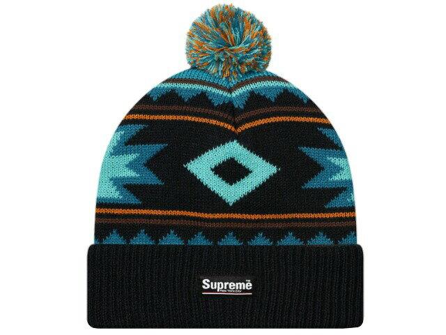 SUPREME シュプリーム ★2017AW新品 黒 Southwest Beanie BLACK ニット帽 ロゴ ボンボン ビーニー 折り返し