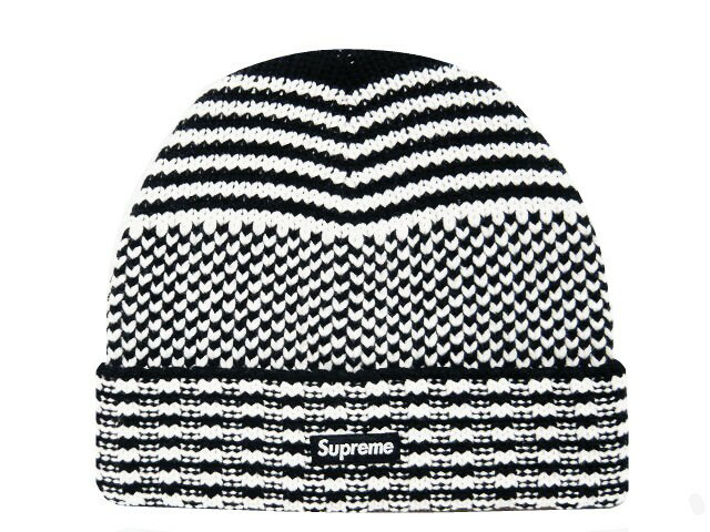 SUPREME シュプリーム ★ 17AW 新品 黒白 Wool Jacquard Beanie ニット帽 ビーニー 折り返し BLACK/WHITE