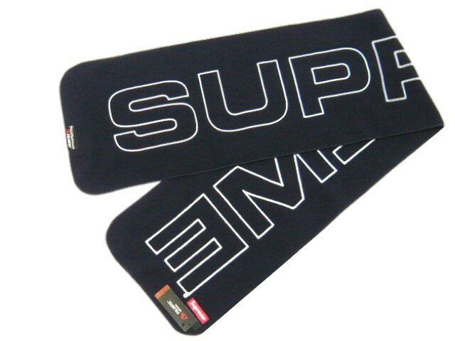 SUPREME シュプリーム★2017AW新品 紺 Polartec Logo Scarf マフラー フリース スカーフ NAVY