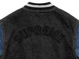 SUPREME シュプリーム 18SS 新品 黒 Denim Varsity Jacket デニム ヴァーシティー ジャケット BLACK ブラック 送料無料