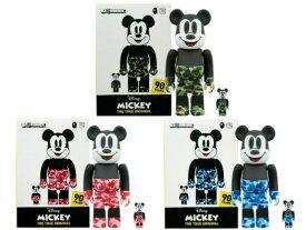 A BATHING APE ア ベイシング エイプ MEDICOM TOY MICKEY 90TH × BAPE BE@RBRICK 100%&400% 3SET 19AW 新品 ベアブリック100% 400% ディズニー ミッキーマウス カモ GREEN BULE PINK 3色(6体セット) Disney