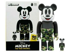 A BATHING APE ア ベイシング エイプ MEDICOM TOY MICKEY 90TH × BAPE BE@RBRICK 100%&400% 19AW 新品 ベアブリック100% 400% ディズニー ミッキーマウス カモ GREEN (2体セット) Disney 送料無料