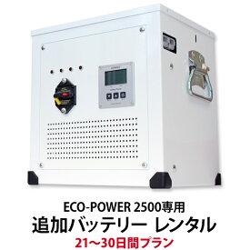 【レンタル】ECO-POWER 2500専用・追加バッテリー 21〜30日間プラン
