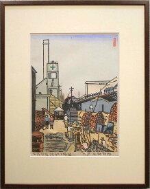 下澤木鉢郎 「東洋紡績浜松工場図」 木版