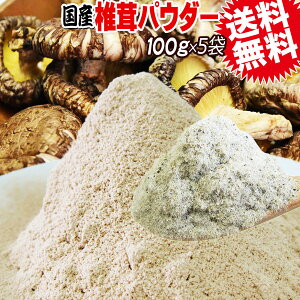 しいたけ 国産 椎茸 粉末 100g×5袋 粗めの粉末 メール便限定 送料無料 エリタデニン 無添加