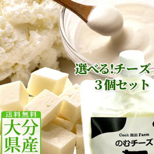 【送料無料】クックヒルファーム チーズ4種から3個選べるセット(フロマージュブラン140g/クリームチーズ140g/フェタチーズ110g/のむチーズ110g)