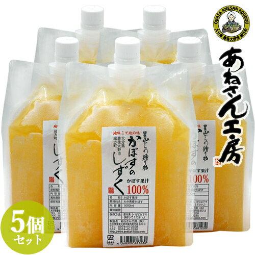 無添加 生絞り 冷凍かぼす果汁 1000ml(1L)×5個 あねさん工房【送料無料】【バレンタインギフトクーポン】