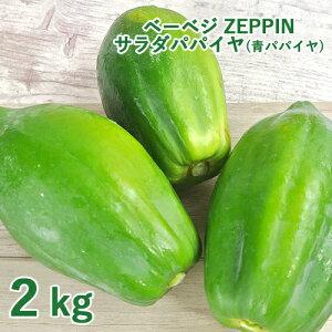 【たっぷりプレゼント付き】シャキシャキ食感 ZEPPINサラダパパイヤ 2kg(3〜4個) 青パパイヤ パパイン酵素 無農薬 ベーベジ【送料無料】