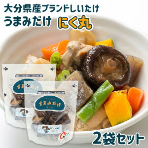 原木栽培乾椎茸生産量日本1位 大分産ブランド椎茸 うまみだけ にく丸 40g×2袋セット トレーサビリティ参加 チャック付きスタンドパック 冷凍保存可能 王将椎茸