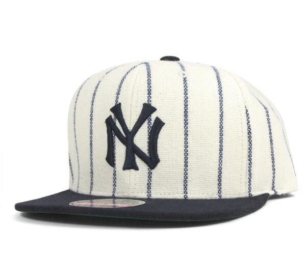アメリカンニードル スナップバックキャップ クーパーズタウン MLB ニューヨークヤンキース レプリカ ホワイト/ネイビー AMERICAN NEEDLE 帽子 メンズ レディース