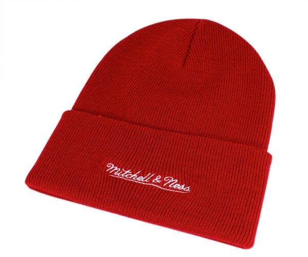 オンスポッツ別注 ミッチェル&ネス(Mitchell&Ness)ニット帽 ニットキャップ レッド 帽子 ONSPOTZ ORIGINAL KNIT CAP BRANDED RED メンズ 【返品・交換対象外】