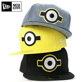 ニューエラ ミニオン コラボ キャップ 59FIFTY NEW ERA MINION ブラック ぼうし 野球帽 ベースボールキャップ フラットキャップ new era ブランド おしゃれ ストリート newera メンズキャップ レディースキャップ メンズレディース帽子 黒