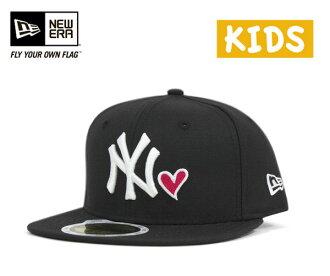 New era kids cap New York Yankees heart black hat NEWERA 59FIFTY KIDS NEW YORK YANKEES HEART BLACK [cap new era cap new era cap small size child in-service ][BK] #KD]