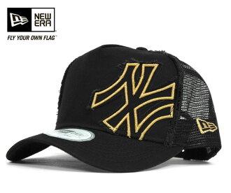 新时代 D 帧卡车司机网格帽营顶黑帽子纽埃尔 D 帧卡车营纽约洋基黑色帽新时代帽新时代帽大尺寸男士女士和 [BK] #CP: M