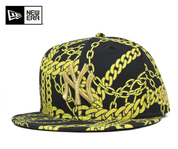 ニューエラ キャップ 59FIFTY MLB ニューヨークヤンキース ゴールド チェイン ブラック NEW ERA 帽子 メンズ レディース 【返品・交換対象外】