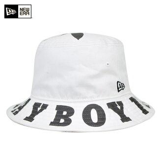 新埃拉×花花公子吊桶帽子大的标识白帽子NEW ERA×PLAYBOY BUCKET-01 HAT BIG LOGO WHITE