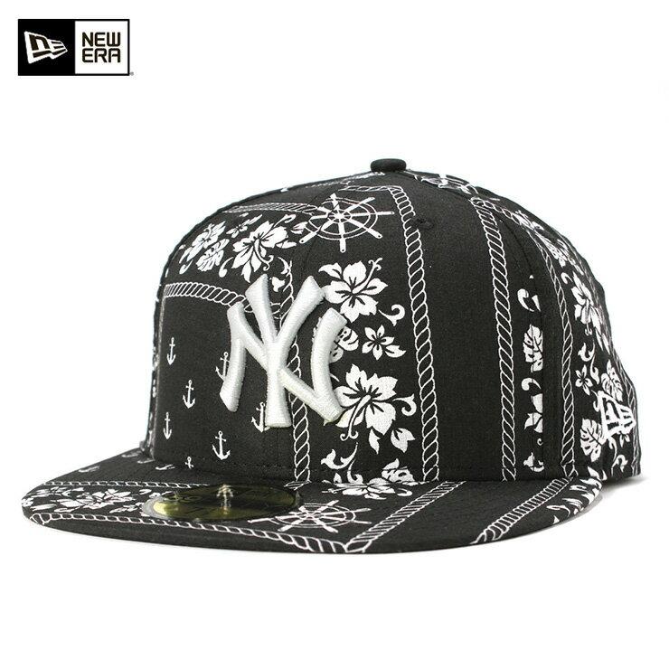 ニューエラ キャップ 59FIFTY MLB ニューヨークヤンキース セーラークロス ブラック ハイビスカス柄 NEW ERA 帽子 メンズ レディース