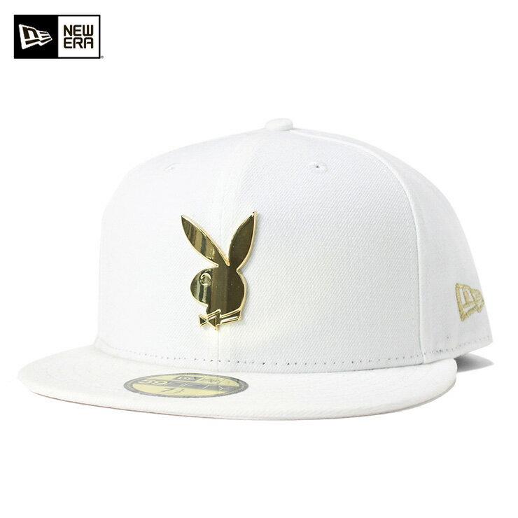 ニューエラ キャップ プレイボーイ 59FIFTY ホワイト メタルロゴ PLAYBOY NEW ERA NEWERA 帽子 メンズ レディース