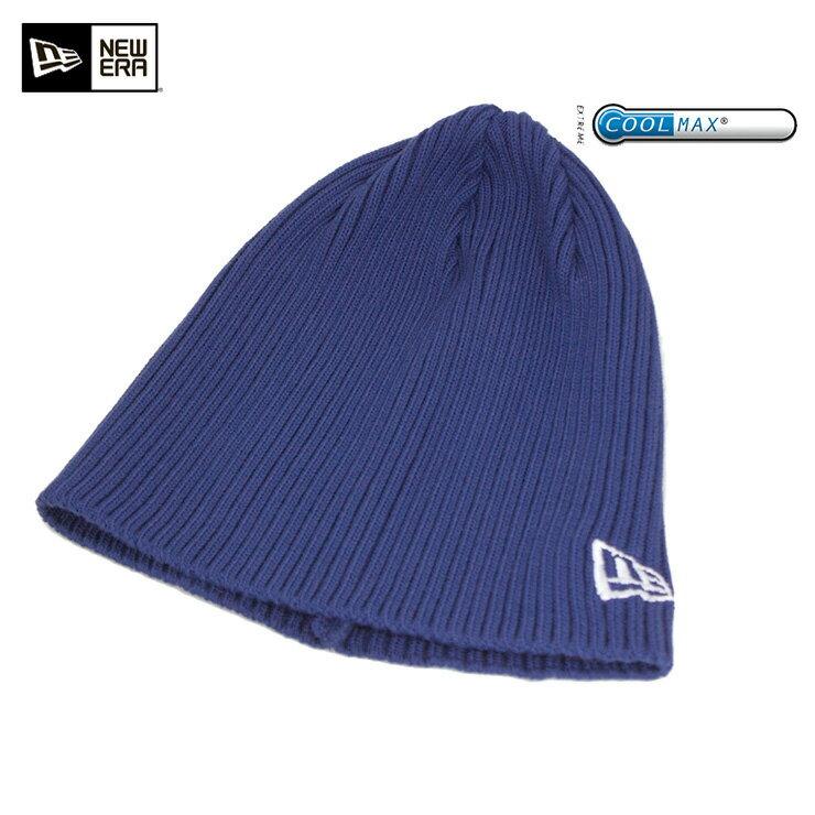 NEW ERA(ニューエラ) ニット帽 リブ ビーニー クールマックス ブルー メンズ レディース COOLMAX【MB】