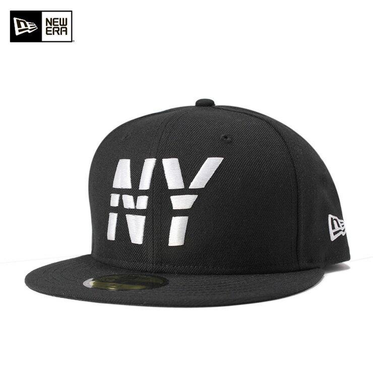 ニューエラ キャップ 59FIFTY ラインNY ブラック NEW ERA 帽子 メンズ レディース