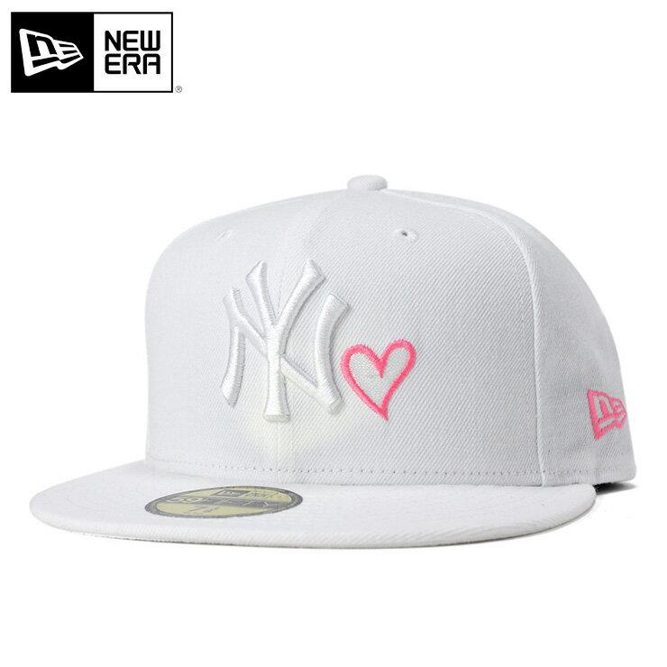 ニューエラ キャップ 59FIFTY ハート MLB ニューヨークヤンキース ホワイト ピンク NEW ERA 帽子 メンズ レディース