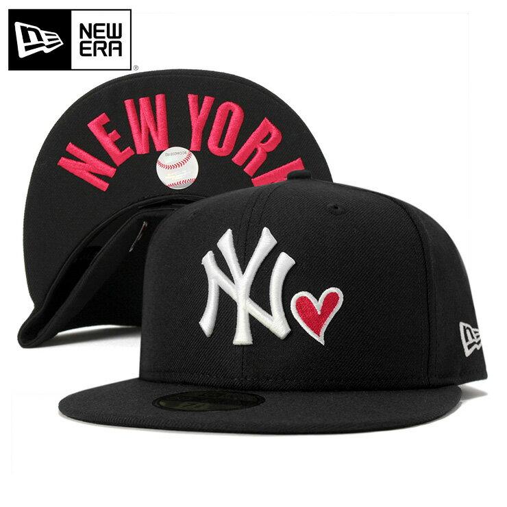 ニューエラ キャップ 59FIFTY ハート MLB ニューヨークヤンキース アンダーバイザー NY ブラック NEW ERA 帽子 メンズ レディース