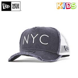 4433b39d5a20c ニューエラ キッズ メッシュキャップ 9FORTY Aフレーム DAMAGED NYC ネイビー ホワイト ダメージ加工 NEW ERA YOUTH  スナップバックキャップ メッシュ キッズ帽子 new ...