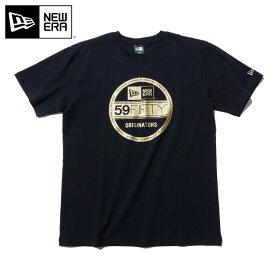 ニューエラ Tシャツ VISOR STICKER BASIC ブラック ゴールド NEW ERA 半袖 半そで ブランド new era ストリート シンプル newera おしゃれ ニューエラTシャツ 黒 メンズTシャツ レディースTシャツ【MB】