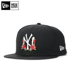 ニューエラ キャップ 59FIFTY FLORAL MLB ニューヨークヤンキース ブラック NEW ERA ぼうし 野球帽 ベースボールキャップ フラットキャップ new era ブランド おしゃれ ストリート newera ニューエラキャップ メンズキャップ レディースキャップ メンズレディース帽子