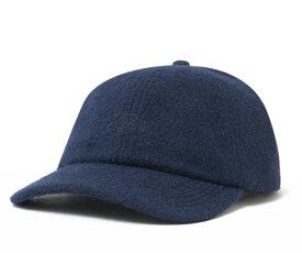 ステューシー ストラップバックキャップ ボイルウール ストック ロゴ ネイビー STUSSY 帽子 メンズ レディース