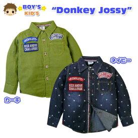【男児シャツ】【シャツ】Donkey Jossy/ドンキージョッシー ダブルガーゼ使用 ボーイスカウト風長袖シャツ【100cm】【110cm】【120cm】【メール便不可】