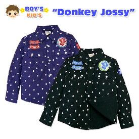 【男児キッズ】【シャツ】Donkey Jossy ワッペン付き ネルスカルドット柄シャツ【100cm】【110cm】【120cm】【130cm】 【メール便OK】