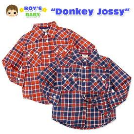 【送料無料】【男児ベビー】【シャツ】Donkey Jossy 表起毛加工 へリンボンチェック柄長袖シャツ【80cm】【90cm】【95cm】【メール便対応】