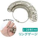 サイズゲージ リングゲージ 1号~28号 金属製 キーホルダータイプ 指輪ゲージ 指輪サイズ リングサイズ ペアリング ア…