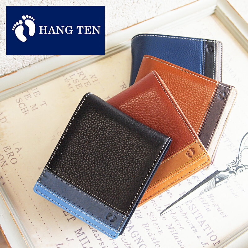 ハンテン HANG TEN BOOK型二つ折り財布 パスケース付き 61HT04