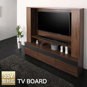 テレビ台 55型 テレビボード ハイタイプ 壁掛け機能付き 幅180cm 高さ160cm 強化ガラス 組立品 ウォルナットブラウン