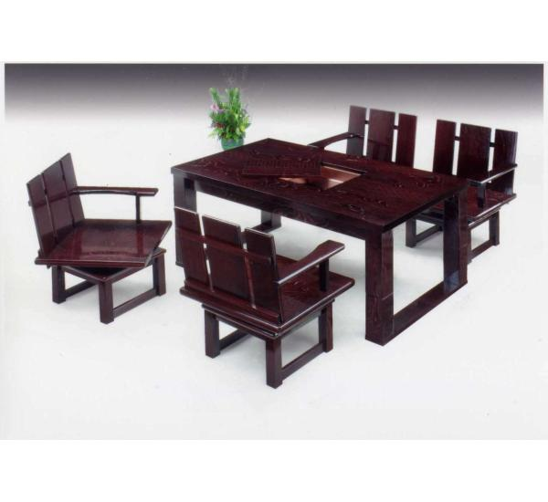 Folk Art Furniture (modern Style) Table Table Folk Art Style Dining Set  Furniture Wooden Chikugo Japan Black River 150 Low Combined Table 5 Piece  Set (DBR) ...